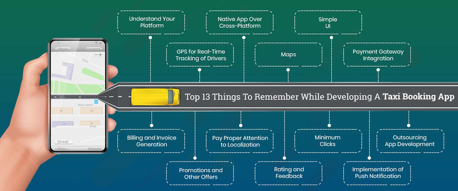Top 13 Things To Remember While Developing A Taxi Booking App
