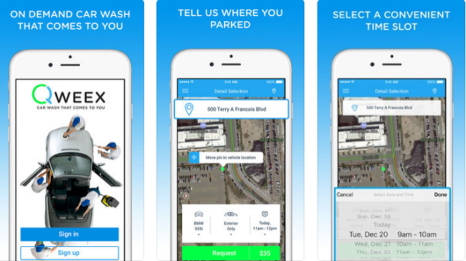 Qweex car wash app