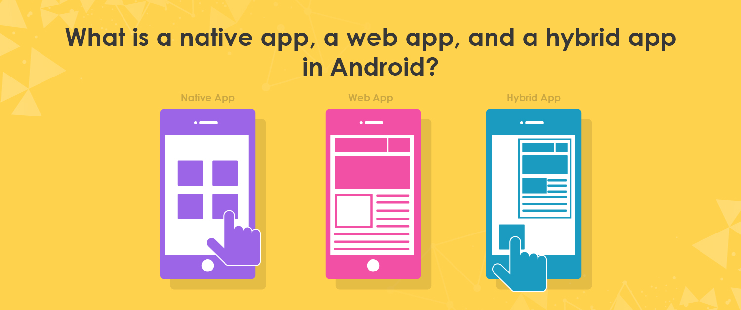 What is a native app, a web app, and a hybrid app in Android?